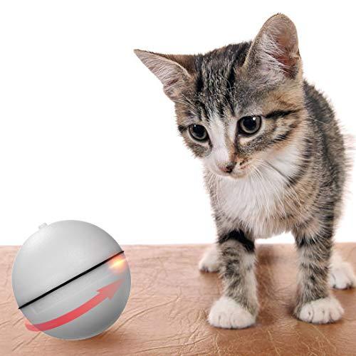 Decdeal Katzenspielzeug Elektrische Rotierende Katze Ball Interactive Spielzeug mit LED Licht für Kitten und Welpen Hunde