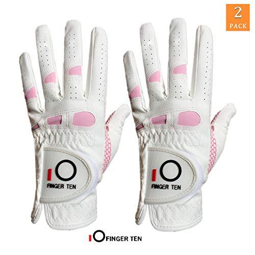 FINGER TEN Golfhandschuhe Damen Linke Hand Rechte 2 Stück(Not Paar) Extra Griff Allwetter 3D Performance Golf Handschuhe Links Rechts rutschfest Weicher Komfort,Größe S M L XL,Linke Hand S