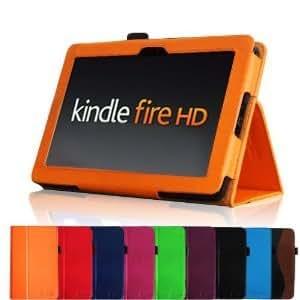 Bingsale® PU Lender Hülle Lederhülle Case Cove Schutzhülle Ledertasche im Bookstyle für Amazon Kindle Fire 7''/ Kindle Fire HD 7''/Kindle Fire HD 8.9'' Tasche mit mit verstaubarer Stylus Halterung (Color :Lila, schwarz,Orange, grün,Rot ,hellblau, hot Rosa , Rot, dunkel blau) + one zubehör stylus in Schwarz (nicht für den neuen Kindle Fire HD 7 2013 geeignet) (Kindle Fire HD 7'', Orange)