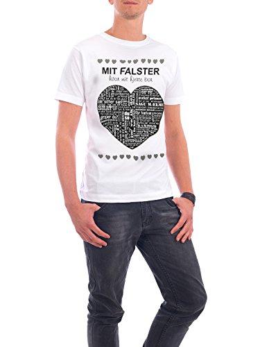"""Design T-Shirt Männer Continental Cotton """"Mit falster hvor mit hjerte bor"""" - stylisches Shirt Typografie Reise / Länder Liebe von Wrona Grafisk Weiß"""