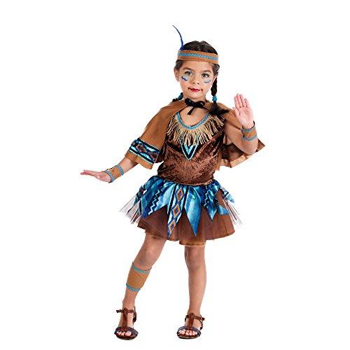 Piccola indiana - costume da bambina per travestimento - vestito, mantellina e accessori - carnevale - marrone - 2 jahre