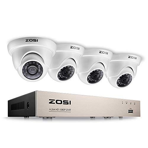 ZOSI Full HD 1080P Videoüberwachung System 8CH TVI 1080P DVR Recorder mit 4 Außen 3000TVL 1080P Weiß Dome Überwachungskamera Set ohne Festplatte, 20 Meter Infrarot Nachtsicht