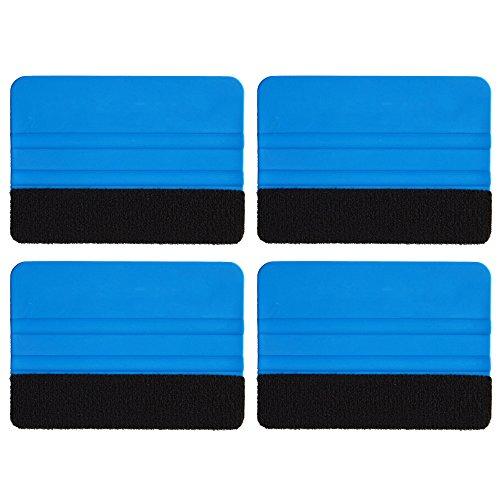 Ehdis 4PCS Qualität Filzkante Andrückrakel 4 Zoll für Auto-Vinyl Scraper Aufkleber Applikator Werkzeug mit schwarzem Stoff Filzkante - Blau PP Scraper