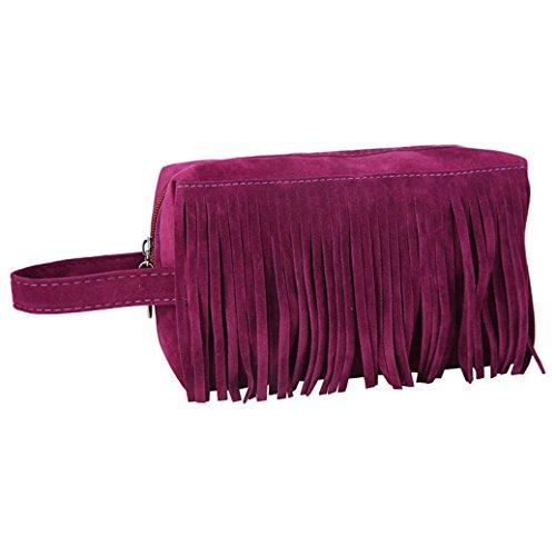 Borsetta da viaggio per cosmetici e prodotti da toilette borsa multiuso ,yanhoo® multifunzione moda pile tessuto nappa borsa cosmetica (viola)