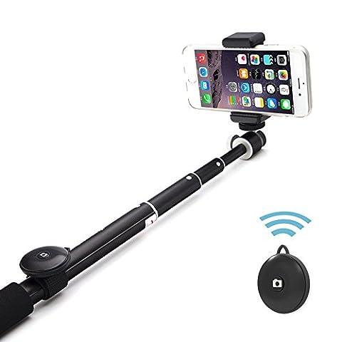 6amLifestyle Selfie Stick Stange Stab Einbeinstativ Handstativ Wireless mit Bluetooth Fernbedienung Auslöser Verstellbare Handy Halterung für Apple Android und meisten Handys, ausziehbar bis 101,6 cm,