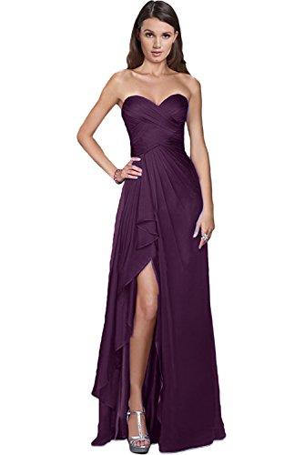 Victory Bridal Damen Glamour Abendkleider Lang Chiffon Brautjungfernkleider Prom/Ballkleider Partykleider Neu-38 Traube (Prom-ball)