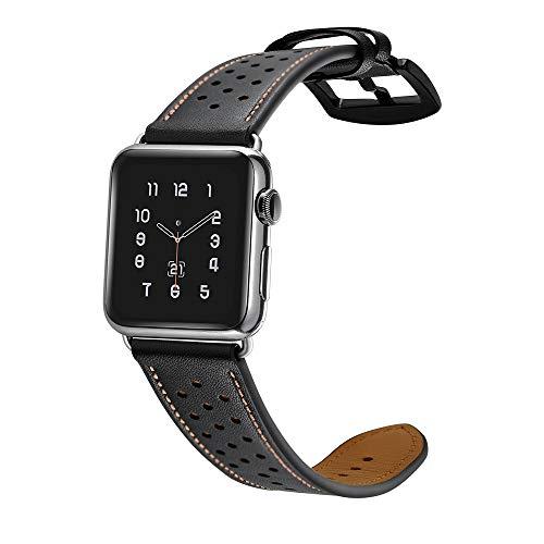 samLIKE Echtleder Armband für Apple Watch 38mm/40mm Series 1/Series 2/Series 3/Series 4 Atmungsaktiv Perforiertes Leder Ersatzarmband für Herren und Damen, 160-215MM, 5 Farben (Schwarz) - Sport 2.0 Perforiertes Leder
