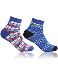 Supersox Unisex Pack of 2 Ankle Combed Cotton Funky Socks (Combo 2)