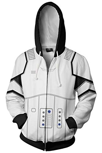 Hoodie Unisex-Blau Hoodie Cosplay Jacke Kapuzenpullover Sweatshirt Kostüm Reißverschluss Mantel - Kostüm Wars Hoodie Star