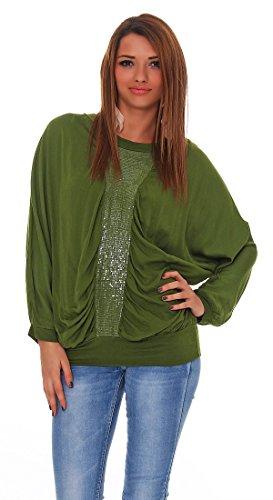 Damen Bluse Loose Fit Basic One Size Oberteil Langarm Shirt mit Pailletten Fledermaus-Schnitt Tunika Moosgrün