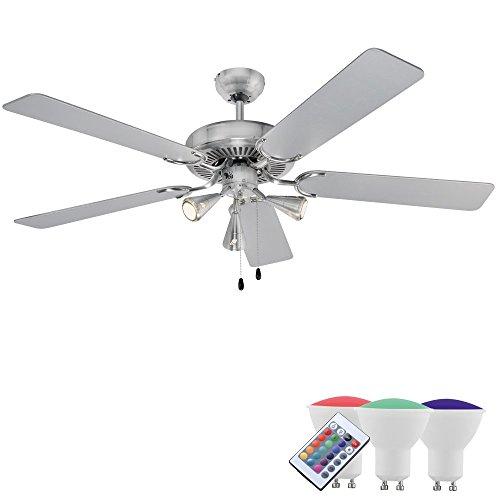 Design Decken Ventilator Klima Esszimmer Raumkühlung Fernbedienung EEK A+ im Set inklusive RGB LED Leuchtmittel