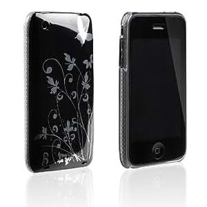 tinxi® Harte Schutz Hülle für Apple iPhone 3 3GS Schmetterling Blumen Muster Rück Schale Cover Schwarz