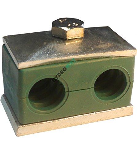 Hydraulik Rohrschelle, doppelt, Ø 14 mm, zur Befestigung von Hydraulikschläuchen & Rohrleitungen