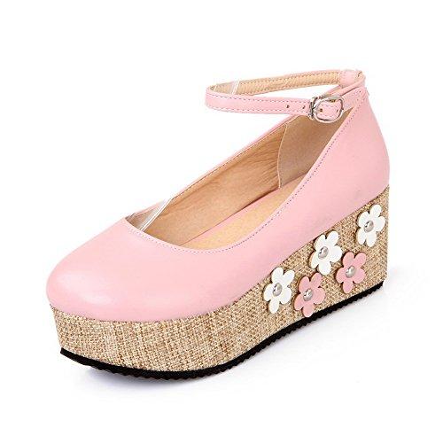 AgooLar Damen Schnalle Pu Leder Rund Zehe Mittler Absatz Pumps Schuhe Pink
