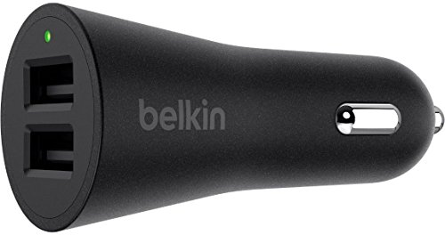 Belkin Boost up 2-Port Universal-USB-A-Kfz-Ladegerät (2x 2,4 A, Schnelles Laden, insgesamt 4,8 A/24 W, geeignet für Handys, Tablets und mehr) schwarz