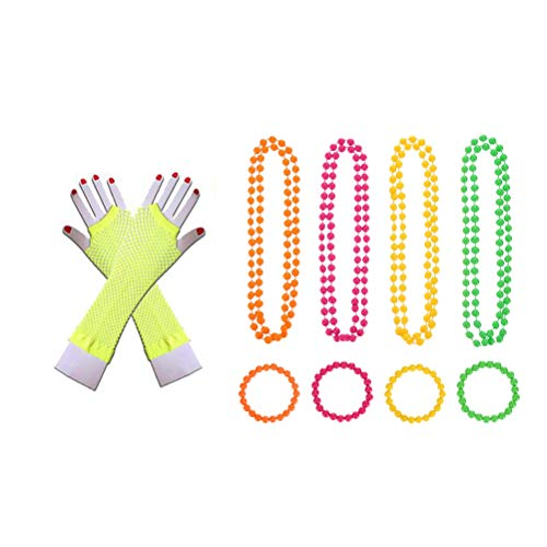 Toyvian Frauen 80er Jahre Kostüm Sets mit Neon Ohrringe Fingerlose Netzhandschuhe Perlenketten für 80er Jahre Partykleid (Gelb)