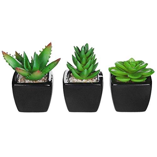 WINOMO Pot de Fleurs artificielles Imitation carré en Céramique Mini Plastique Faux Herbe Verte des Plantes avec Pots pour Home Decor 3 Pcs Noir
