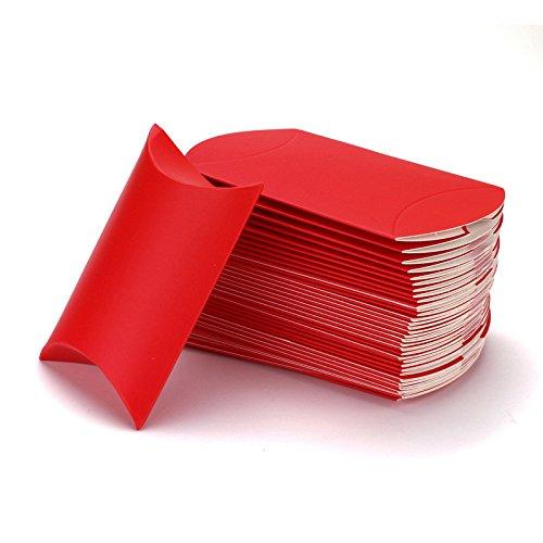 50pz Portaconfetti Scatole Cuscino In Carta Kraft Semplice Fai DA Te (ROSSO)