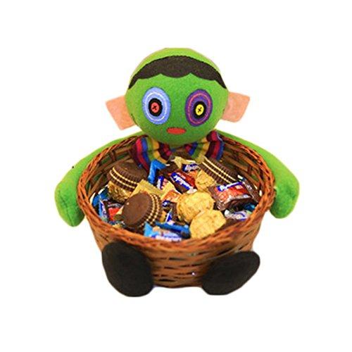 monicanine Halloween Candy Halter Kürbis Ghost Puppe Bambus Korb Party Dekoration Schüssel Einheitsgröße Zombie (Halloween Candy Schüssel)