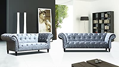 Lovesofas New Chelsea Chesterfield Luxury Crushed Velvet 3 + 2 Seaters - Silver from Love Sofas
