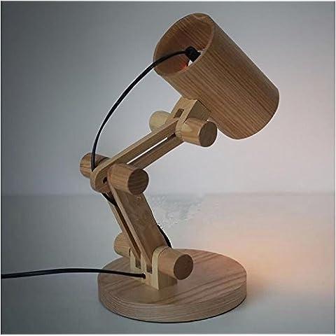 WL&F Logs Table Lamp Nordic legno del fumetto Retro Camera da letto Bar lampada da (Lampade Inoltre Legno Lampada Da Tavolo)