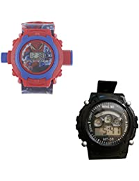 Shanti Enterprises Combo Spiderman 24 Images Projector Watch And Sports Watch Multi Color Dial For Kids - B07573W8L2