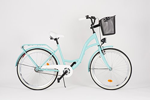 Milord. 2018 Cómoda Bicicleta de ciudad con una Canasta, Bicicleta, 1 Velocidad, Rueda de 28', Aqua