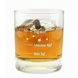 """- Whiskyglas mit Gravur - Gravur: """"Guter Tag, schlechter Tag - Frag nicht!"""" - Fassungsvermögen: 300 ml - Höhe: 9,3 cm - Durchmesser: 8 cm - Glas klar - Spülmaschinenfest - Dekorationsartikel gehören nicht zum Leistungsumfang."""