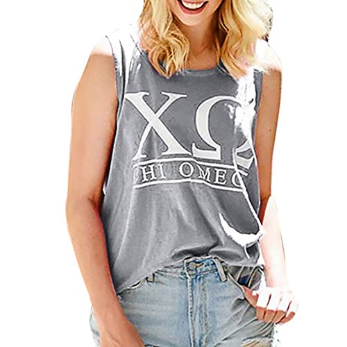 (Yvelands Damen Mode Weste Ärmelloses T-Shirt Unterhemd Brief Druck Ärmellose Bluse Lose Tank Tops Camisoles(Grau,CN-5XL))