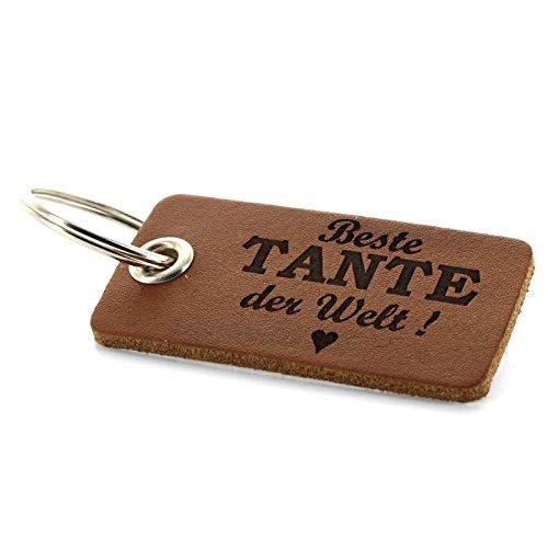 Lieblingsmensch aus Leder - Beste Tante Schlüsselanhänger, 12 cm, Braun (Braun Nussbaum-leder)