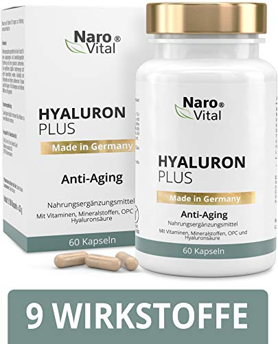 Hyaluronsäure Kapseln - Anti-Aging & junge Haut - Hochdosiert 553 mg - Mit Hyaluronsäure 500-700 kDa, Niacin, Vitamin B2, Kupfer, Selen, OPC, L-Cystein & Vitamin E - 60 vegane Kapseln - Hyaluron Plus