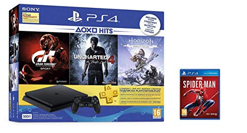 Sony PS4 500 GB Slim Console (Free Games: Gran Turismo - Sport/Uncharted 4/Horizon Zero Dawn) with Spiderman (PS4)
