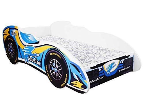 Topbeds - Cama infantil, diseño coche de carreras, colchón incluido, madera, BLUE BIRD, 140 x 70 centimeters
