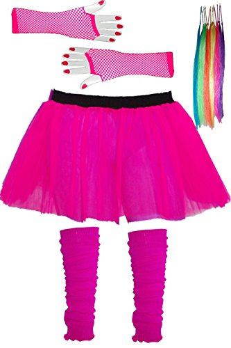 Girls-Tutu-Skirt-Set-with-Leg-Warmers-Gloves-Hair-Extensions-Age-4-to-12-years