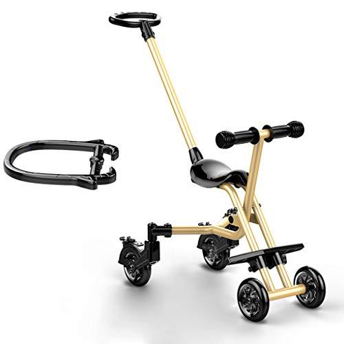 Carrito de bebé Bebé de cuatro ruedas a prueba de roturas Ligero plegable para niños Trolley Trend Adventure Travel System Gama Aviación aleación de aluminio Champagne Gold