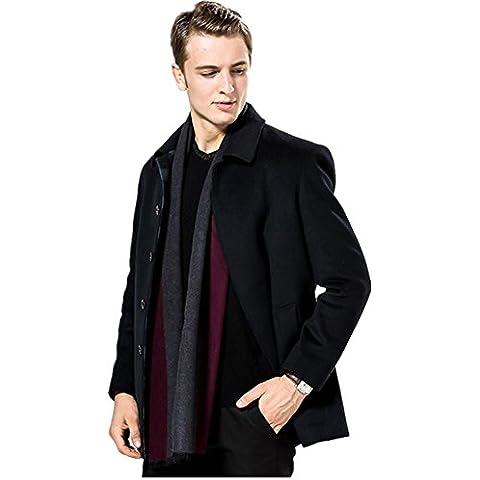 Autunno uomo e inverno caldo Jacquard nappe Cashmere spessa bifacciale tinta unita sciarpa grande contenitore di regalo , red and gray