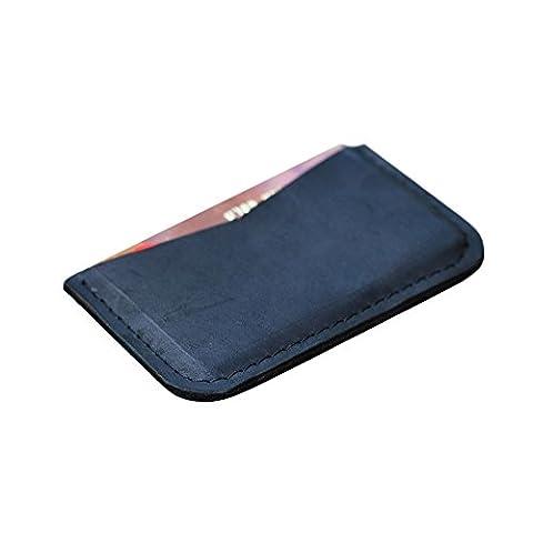 Porte-cartes en cuir pour hommes femmes. Véritable cuir noir fabriqué à la main