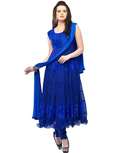 Pd Cloth Villa Blue Suits for Women Indo-Western Pd Cloth Villa Party Wedding Wear Floor Length Gown/ Anarkali Suit/ Salwar Suit  available at amazon for Rs.399