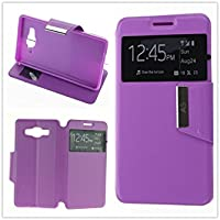 MISEMIYA - Coque Étui pour Samsung Galaxy A5 2016 (A510F) - Étui + Protecteur Verre Trempé, COVER-VIEW avec support,Purple