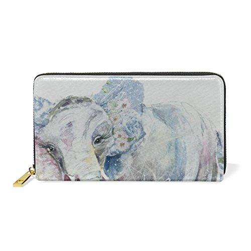 COOSUN Los elefantes del cuero del monedero del arte embrague largo carpeta...
