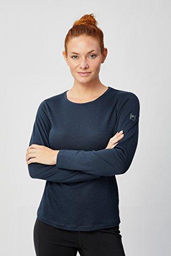 super.natural Dünnes Damen Langarm-Shirt, Mit Merinowolle, W BASE LS 140, Größe: M, Farbe: Dunkelblau