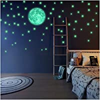 LIDERSTAR Glow in The Dark Stars and Moon Wall Stickers, Beautiful Wall Decals for Bedroom. Full Moon &220 adhesive Glowing Stars for Room, light your Ceiling, Bonus Affirmation Card for Kids
