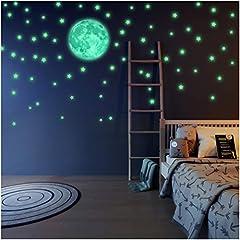 Idea Regalo - 220 Stelle luminose e luna fluorescente - autoadesivo - Adesivo da parete con lungo luminosità, ideale per cameretta bambini camera letto,Stelle fosforescenti per il soffitto, LIDERSTAR