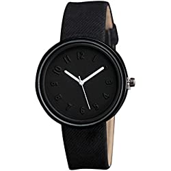 HARRYSTORE Unisex Wrist Watch Simple Design Fashion Number Watches with Black Canvas Belt , Black Dial