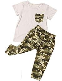 Traje de camuflaje de Verano de los niños de verano de Koly, camiseta de manga corta + Pantalón de camuflaje