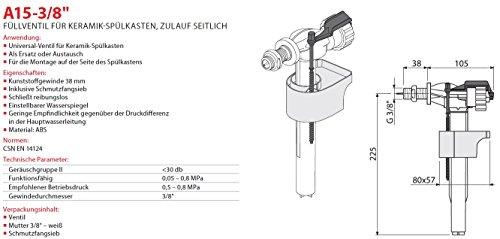 """Füllventil für WC- Keramik Spülkasten 3/8"""" Füll-Ventil Anschlußgewinde Seitlich Neu Schwimmerventil Gewindeendung"""