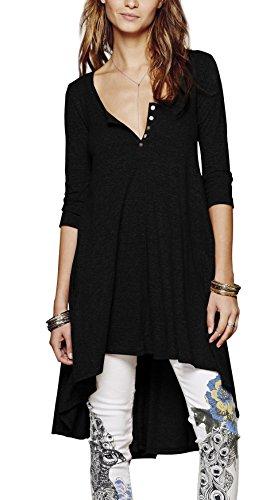 Schwarz Button-down-kleid Damen (Urbancoco Damen kurz Ärmelige button down Asymmetrisch T-Shirt Sommer Tunika (L, schwarz))