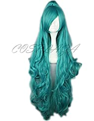 COSPLAZA Perruque longue bleue vert Anime Cosplay Wigs karneval Carnival IVA Cheveux with Pony