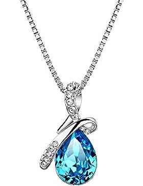LANMPU Damen Schmuck 925 Sterling Silber Eternal Love Tropfenform österreichischen Kristall Anhänger Halskette...