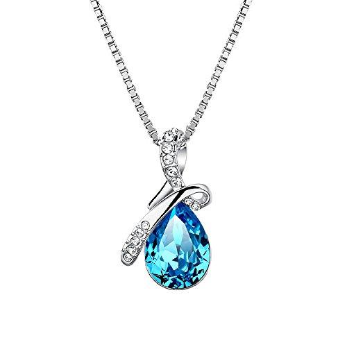 LANMPU Damen Schmuck 925 Sterling Silber Eternal Love Tropfenform österreichischen Kristall Anhänger Halskette - Ocean Blau Klein Kristall 5cm / necklace, jewelry with case